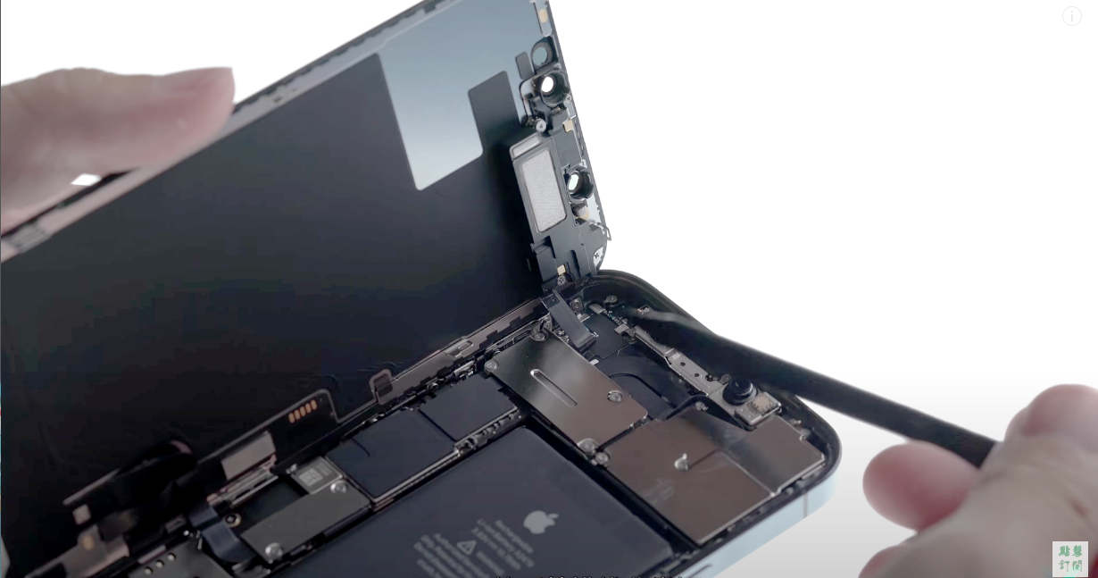 An opened iPhone 12 with the proximity flex on display.