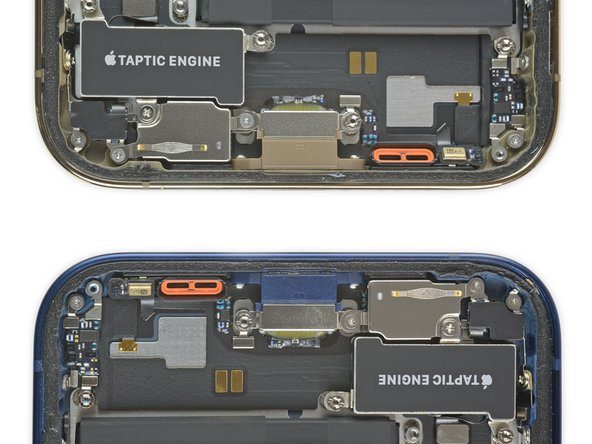 Lower halves of iPhone 12 devices with the orange speaker gasket showing.